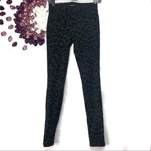 J Brand Black Cat Leopard Jean Legging